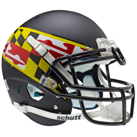 Maryland Terrapins Black with Flag Schutt XP Authentic Helmet - Alternate 1