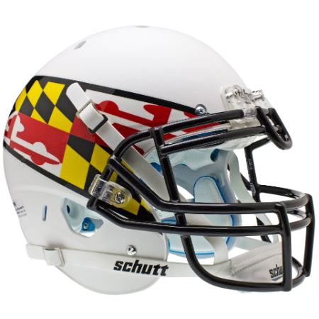 Maryland Terrapins White with Flag Schutt XP Authentic Helmet - Alternate 2