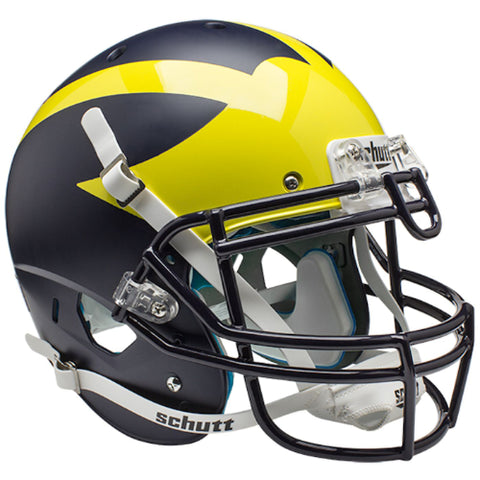 Michigan Wolverines Satin Blue Schutt XP Authentic Helmet - Alternate 3