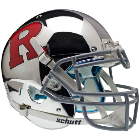 Rutgers Scarlet Knights Chrome Red R with Silver Stripe Schutt XP Authentic Helmet - Alternate 4