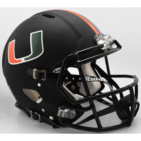 Miami Hurricanes Riddell Authentic Speed Helmet - Nights Alternate
