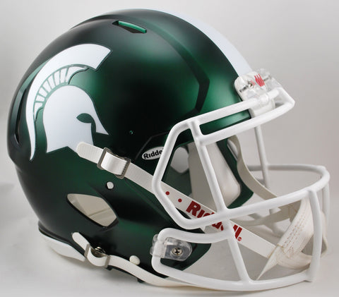 Michigan State Spartans Riddell Authentic Speed Helmet - Satin Green