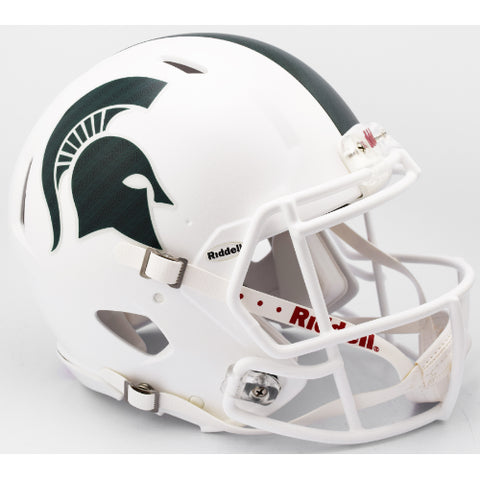 Michigan State Spartans Riddell Authentic Speed Helmet - Matte White