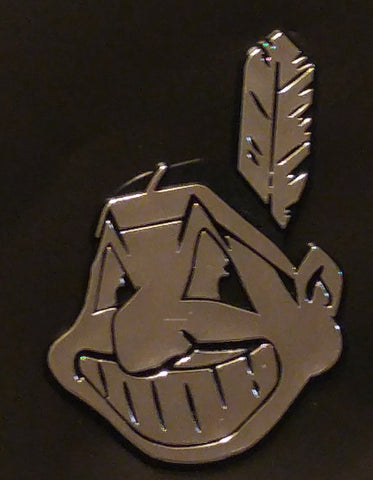 Cleveland Indians Chief Wahoo Logo Die Cut Silver Auto Emblem