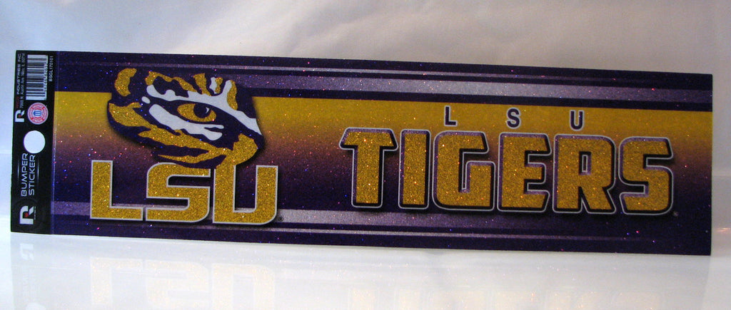 LSU Tigers Bumper Sticker - Glitter