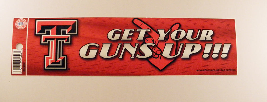 Texas Tech Red Raiders Bumper Sticker - Guns Up