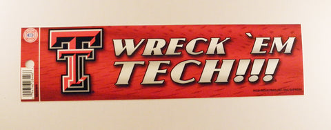 Texas Tech Red Raiders Bumper Sticker - Wreck 'Em Tech