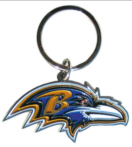 Baltimore Ravens Chrome Logo Cut Keychain