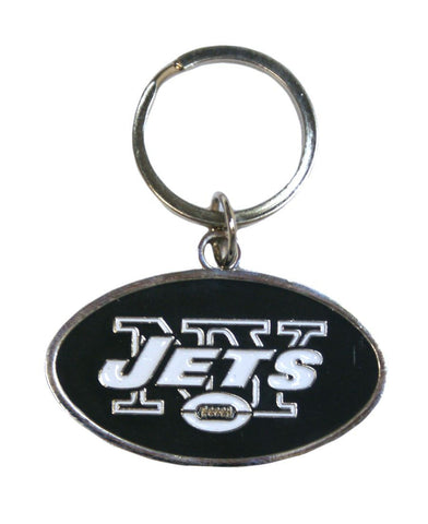 New York Jets Chrome Logo Cut Keychain