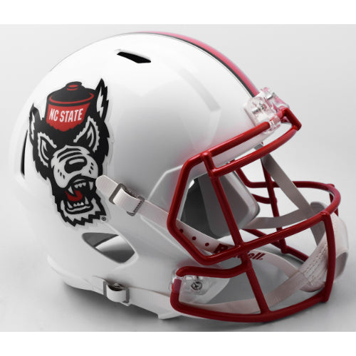 North Carolina State Wolfpack Riddell Deluxe Replica Speed Helmet - White Tuffy