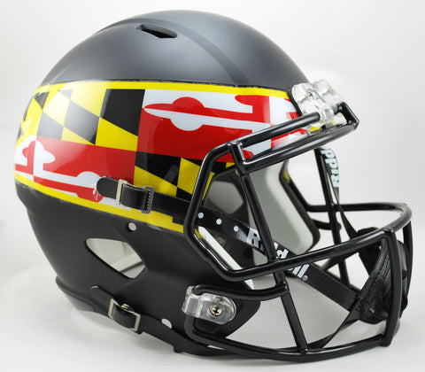 Maryland Terrapins Riddell Deluxe Replica Speed Helmet - Black With Flag