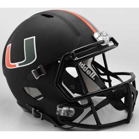 Miami Hurricanes Riddell Deluxe Replica Speed Helmet - Nights Alternate