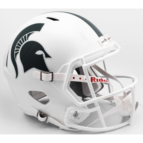 Michigan State Spartans Riddell Deluxe Replica Speed Helmet - Matte White