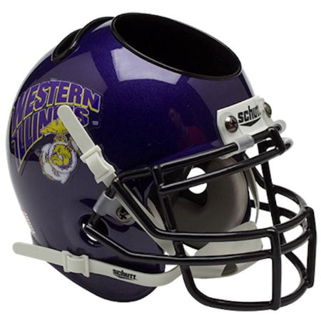Western Illinois Leathernecks Schutt Mini Helmet Desk Caddy - Alternate 1