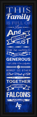 "Air Force Falcons 8""x24"" Family Cheer Print"