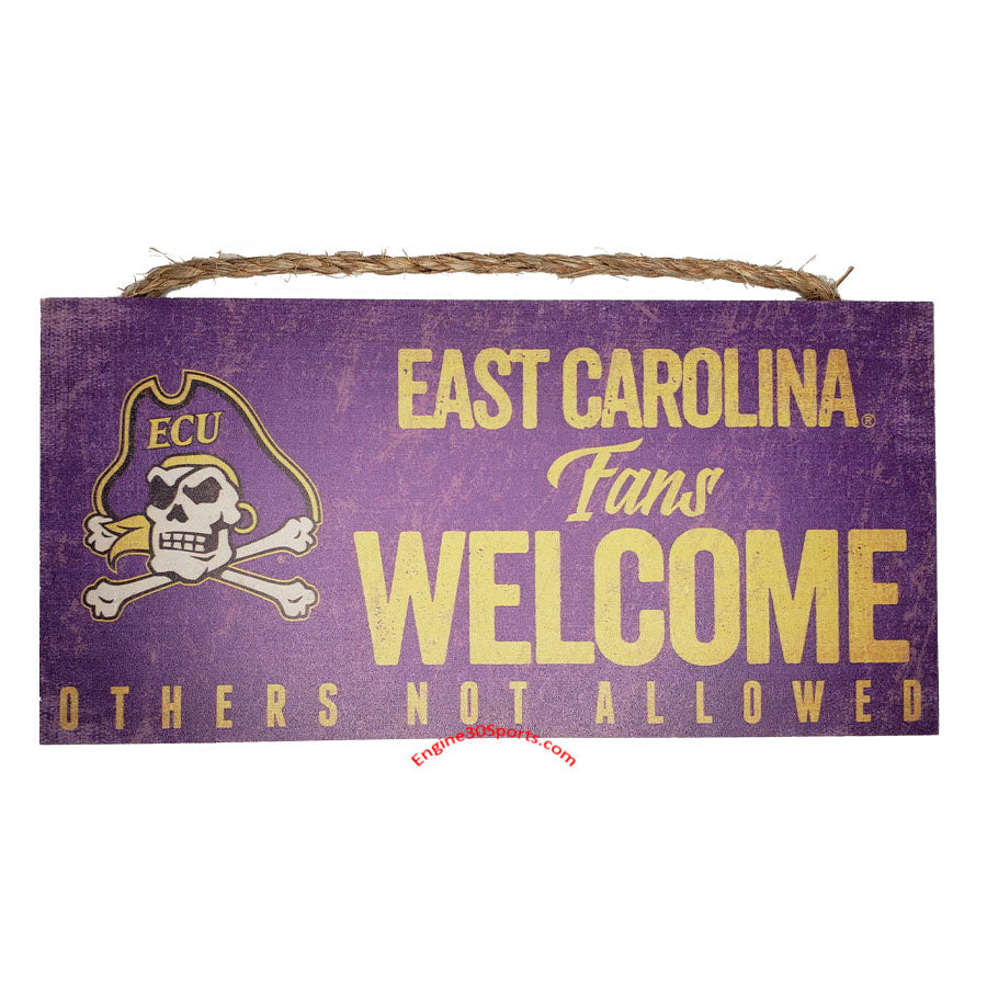 "East Carolina Pirates 12""x6"" Fans Welcome Wood Sign"