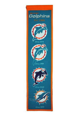 "Miami Dolphins 8""x32"" Wool Heritage Banner"