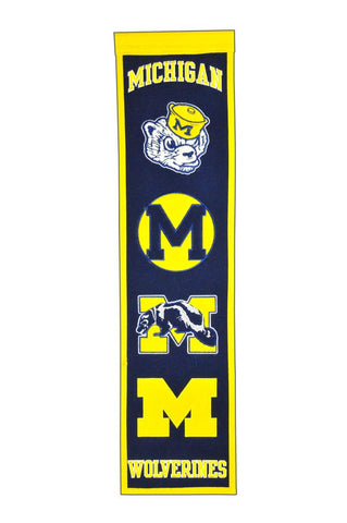 "Michigan Wolverines 8""x32"" Wool Heritage Banner"