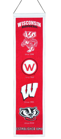 "Wisconsin Badgers 8""x32"" Wool Heritage Banner"