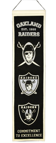 "Oakland Raiders 8""x32"" Wool Heritage Banner"