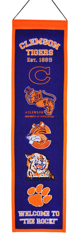"Clemson Tigers 8""x32"" Wool Heritage Banner"