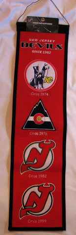 "New Jersey Devils 8""x32"" Wool Heritage Banner"