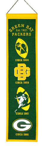 "Green Bay Packers 8""x32"" Wool Heritage Banner"