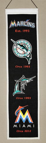 "Miami Marlins 8""x32"" Wool Heritage Banner"