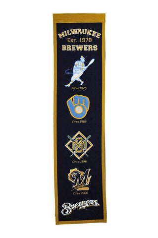 "Milwaukee Brewers 8""x32"" Wool Heritage Banner"