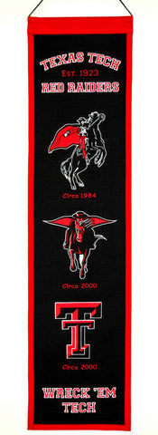 "Texas Tech Red Raiders 8""x32"" Wool Heritage Banner"