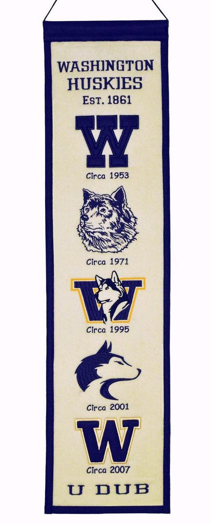 "Washington Huskies 8""x32"" Wool Heritage Banner"