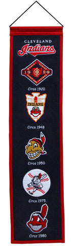 "Cleveland Indians 8""x32"" Wool Heritage Banner"