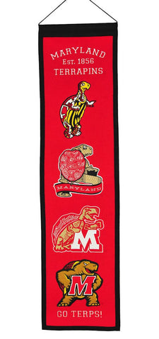 "Maryland Terrapins 8""x32"" Wool Heritage Banner"