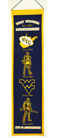 "West Virginia Mountaineers 8""x32"" Wool Heritage Banner"