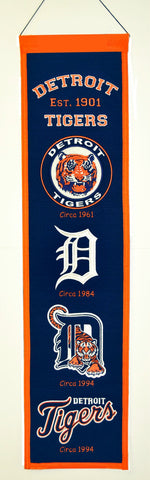 "Detroit Tigers 8""x32"" Wool Heritage Banner"