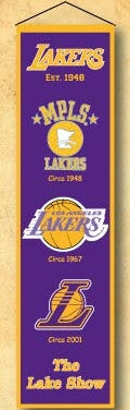 "Los Angeles Lakers 8""x32"" Wool Heritage Banner"