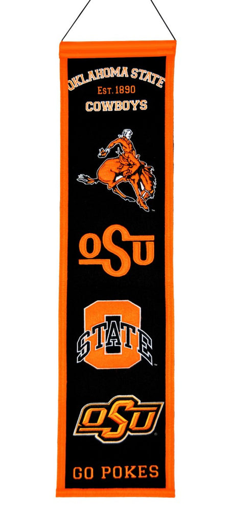 "Oklahoma State Cowboys 8""x32"" Wool Heritage Banner"