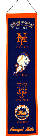 "New York Mets 8""x32"" Wool Heritage Banner"