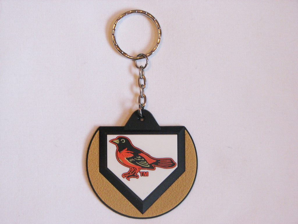 Baltimore Orioles Bird Logo Home Plate Style Keychain