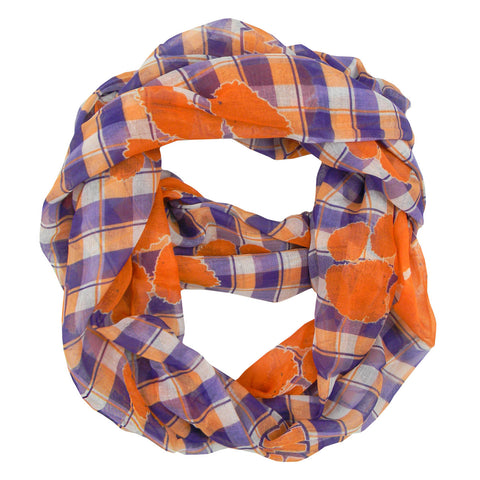 Clemson Tigers Infinity Scarf - Plaid