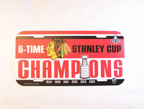 Chicago Blackhawks 2015 Stanley Cup Champions License Plate