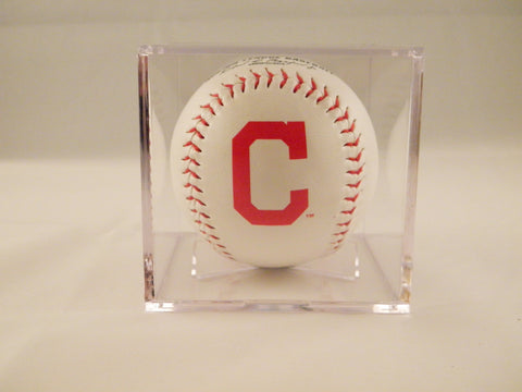 Cleveland Indians Logo Baseball In UV Protected Ball Holder
