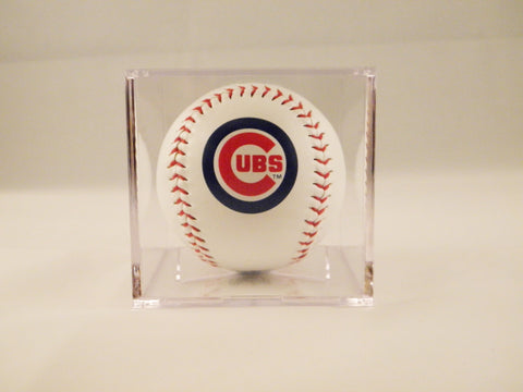 Chicago Cubs Logo Baseball In UV Protected Ball Holder