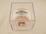 Cleveland Indians Logo Baseball In UV Protected Ball Holder 2