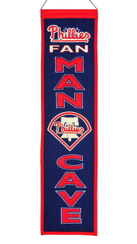 "Philadelphia Phillies 8""x32"" Wool Man Cave Banner"