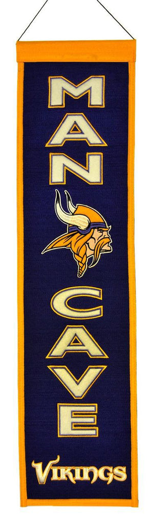 "Minnesota Vikings 8""x32"" Wool Man Cave Banner"