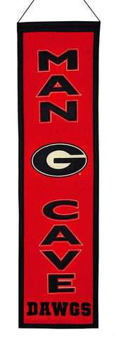 "Georgia Bulldogs 8""x32"" Wool Man Cave Banner"