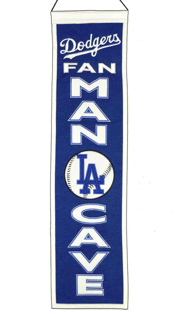 "Los Angeles Dodgers 8""x32"" Wool Man Cave Banner"