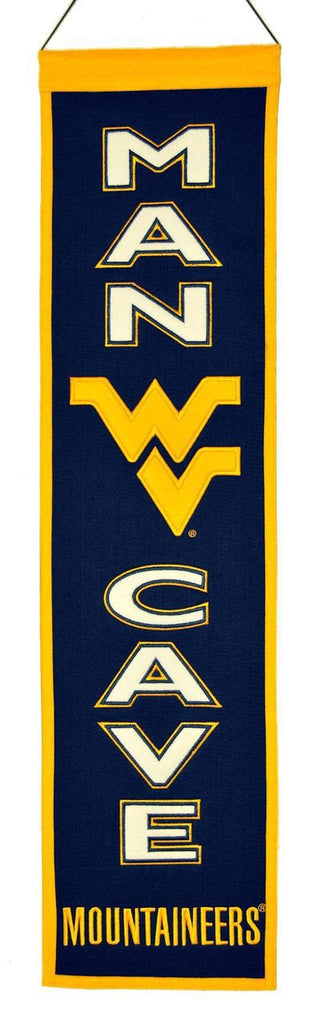 "West Virginia Mountaineers 8""x32"" Wool Man Cave Banner"