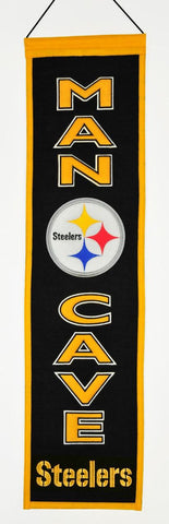 "Pittsburgh Steelers 8""x32"" Wool Man Cave Banner"